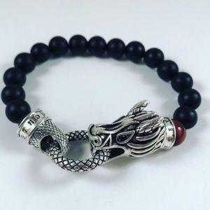 Silver dragon onyx & red tiger eye men bracelet